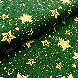 RosaliNum 0,5m Stoff BW Weihnachten Sterne dunkelgrün-Gold
