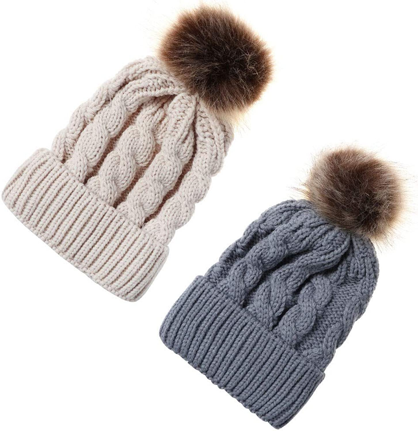 Beauty7 Women Soft Stretch Cuffed Knitted Beanie Cap Faux Fuzzy Fur Pompom Top Chunky Slouchy Hat Skull Cap Winter Fall