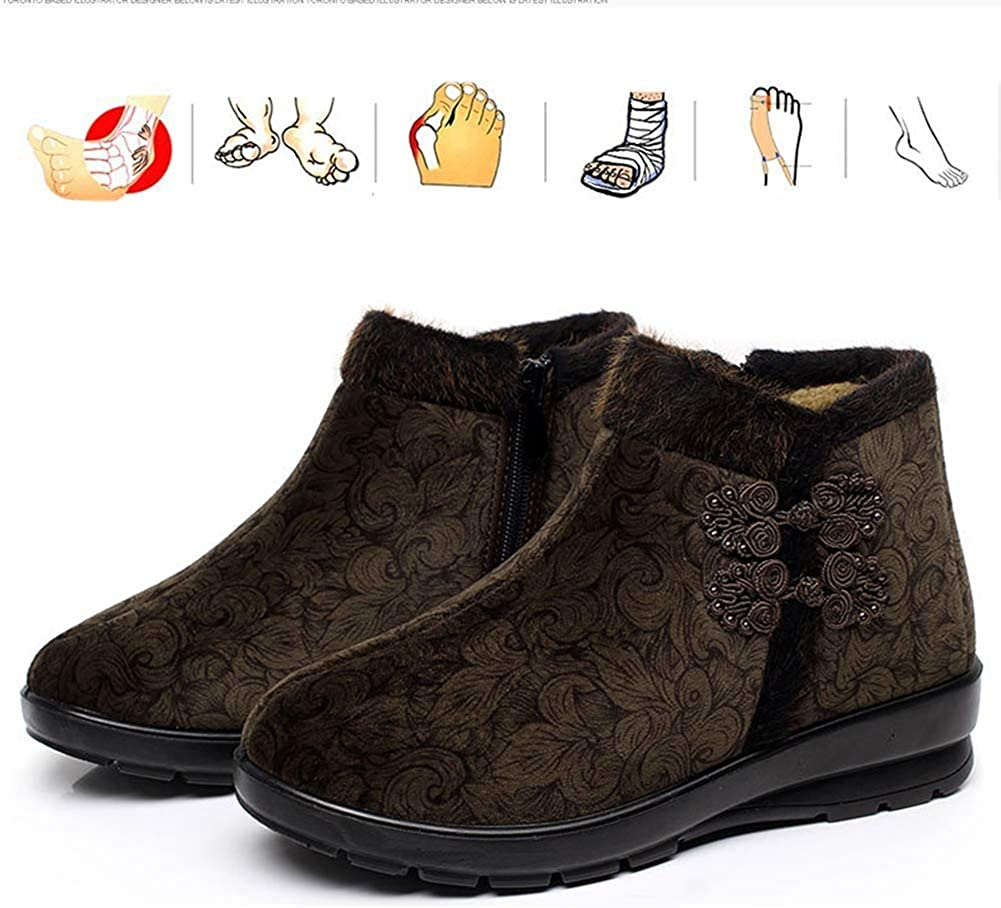 KRILY Zapatos Diabeticos Cómodos Botines Cálidos con Forro de Piel Zapatos para Caminar Antideslizantes al Aire Libre Botas para Edema Artritis pies Hinchados
