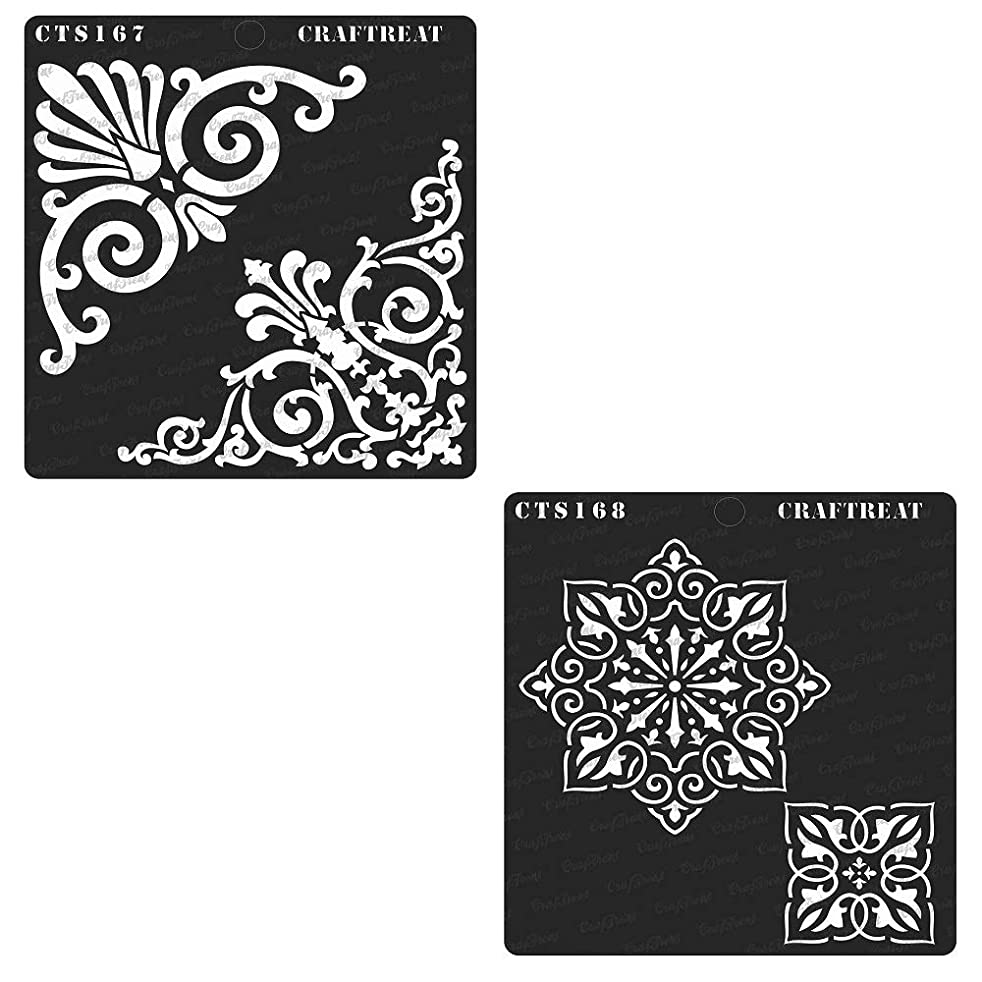 CrafTreat Stencil - Rangoli & Ornate Corners (2 pcs) | Reusable Painting Template for Home Decor, Crafting, DIY Albums, Scrapbook and Printing on Paper, Floor, Wall, Tile, Fabric, Wood 6