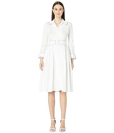 Zac Posen Cotton Poplin Dress (White/Lilac) Women