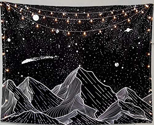 RSG Venture Mountain Moon Tapestry Wall Hanging Stars Black and White planet moon stars Tapestry product image