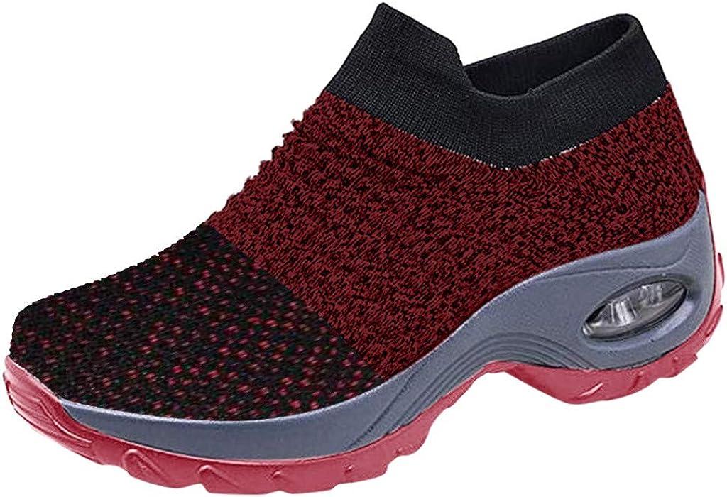 ZEFOTIM Women's Walking Shoes Sock Sneakers - Mesh Slip On Air Cushion Platform Shoes