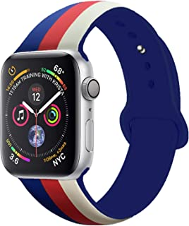 Sport Band Compatible with Apple Watch Band, Premium Soft Silicone Bracelet Strap Replacement Band US Flag for Watch Series 4/3/2/1 (Antique White/Red/Midnight Blue, 42MM/44MM M/L)
