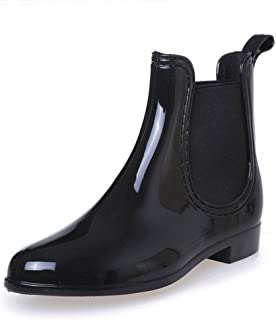 Womens Short Rain Boots Waterproof Non Slip Ankle Martin Chelsea Shoes