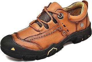 Cmaocv الرجال المشي في الهواء الطلق الجلود أحذية المشي المشي الرياضة عارضة اللباس العمل تنفس الرحلات.