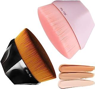 MissRui 2 PACK Foundation Makeup Brush, Kabuki Face Blush Liquid Flawless Powder Brush Flat Top with Protective Case (Pin...