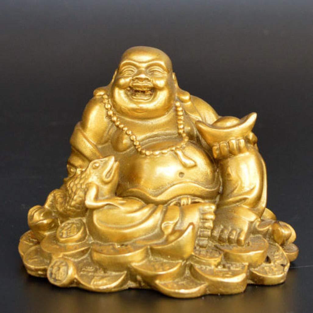 MAIAMY Exquisita Estatua del Budismo Latón Maitreya Buda Escultura Trabajo Hecho a Mano Grandes Figuras de Buda del Vientre: Amazon.es: Jardín