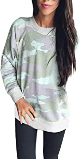 aihihe Camo Shirts for Women Plus Size Long Sleeve Crewneck Casual Pullover Sweatshirt Loose T-Shirt Blouses Tops