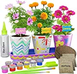 Paint & Plant Stoneware Flower Gardening Kit - Birthday Gifts for Girls & Boys Ages 4 5 6 7 8 9 10 Year Old Girl - Kids Arts & Crafts Project Science Gift STEM Activity - Grow Cosmos Zinnia & Marigold