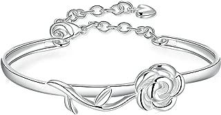 Luxury Big Rose Flower Chain Link Bracelet for Women Ladies Shining AAA Cubic Zircon Crystal Jewelry Gift Adjustable Bangle
