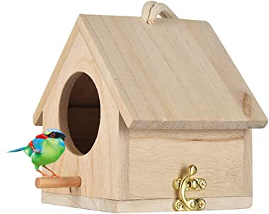 Tfwadmx Wooden Bird House, Hanging Birdhouse for Outside, Garden Patio Decorative Nest Box Bird House for Wren Swallow Sparro