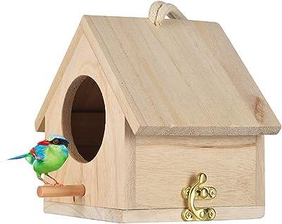 Tfwadmx Wooden Bird House, Hanging Birdhouse for Outside, Garden Patio Decorative Nest Box Bird House for Wren Swallow Sparrow Hummingbird Finch Throstle