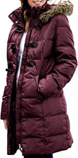 CILKOO Womens Faux Fur Collar Zip Up Quilted Jacket Coat Outerwear(S-XXL)