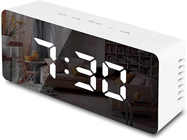 Deoulai Digital LED Alarm Clock Mirror Surface With Date Time White