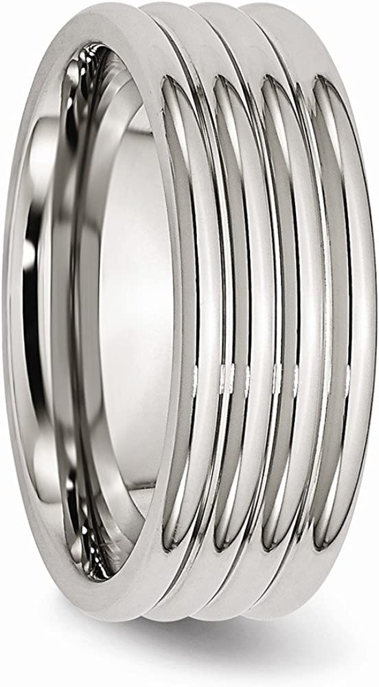 ICE CARATS Stainless Steel 8mm Grooved Wedding Ring Band Fashion Jewelry for Women Gifts for Her