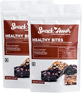 SnackAmor Healthy Healthy Bites - Mini Bars with 4 Flavour Mango Ginger, Chocolate Berry, Chocolate Coffee and Blueberry, ...