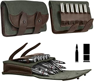 BronzeDog Leather Ammo Cartridge Belt Shell Holder Rifle Pouch Shotgun Bag Hunting Wallet .30-30 .30-06 .308 Caliber 12 (16) Gauge