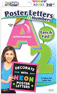 ArtSkills Poster Letters and Numbers, A-Z and 0-9, Neon Colors, Assorted, 310-Count (PA-1464)