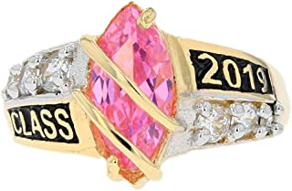 10k Solid Gold Simulated Birthstone 2019 Class Graduation Ring