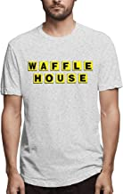 Men's Casual Waffle House Tee T Shirt Short Sleeve O-Neck Cotton T-Shirt Sports Tops Plus Size Tshirt for Teens