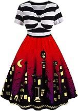 Goddessvan Women Vintage Long Sleeve V Neck Halloween Housewife Print Knotted Back Dress