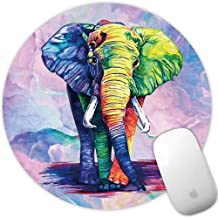 Marphe Mouse Pad Colored Elephant Drawing Mousepad Non-Slip Rubber Gaming Mouse Pad Round Mouse Pads for Computers Laptop
