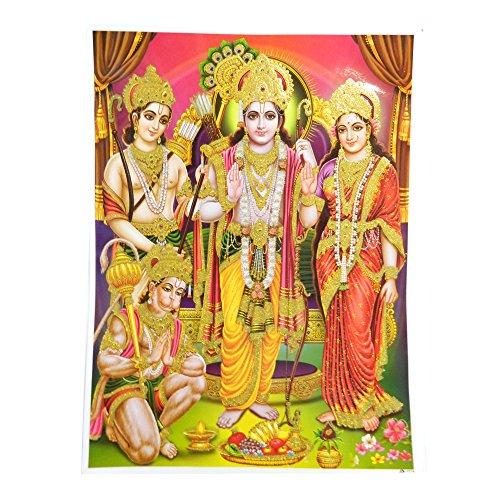indischerbasar.de Stampa Rama Sita Lakshmana Hanuman 30x40cm divinità Hinduista Stampa Artistica