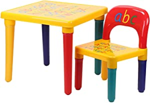 DEENZ Kids Table Chair Set ABC Table Chair  Alphabet Learn  amp  Play  ABC Letters Pattern  Eco-friendly Plastic  Educational Gift Security Rounded Corners
