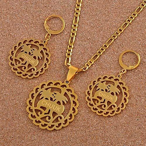 ZPPYMXGZ Co.,ltd Collar de Palma de Coco, Collar con Colgante de Acero Inoxidable, Conjuntos de Pendientes para Mujer, joyería de Color Dorado, Regalo étnico