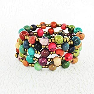 Multi Color Memory Wire Bracelet made of Acai Seed