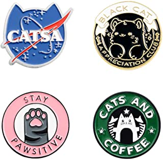 Shuning Cats Club Enamel Pin Cat Planet Coffee Paw Brooch Pins Badge Cute Kitten Brooches Lapel Pin Jeans Shirt Bag Jewelry