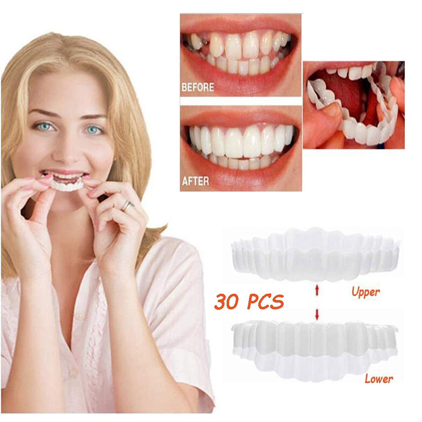 麻酔薬ヘルシー報酬の30個歯の化粧化粧板の美しい笑顔義歯ケアクリエイティブ歯の一時的なブレースワンサイズはほとんどの歯のベニヤにフィット(下+上)