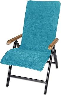 JEMIDI Funda de rizo para sillas de jardín, 100 % algodón, 60 x 130 cm, funda de rizo, funda para silla de jardín, funda para asiento de jardín, color turquesa