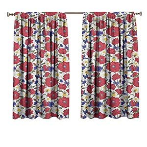 Floral Drapes for Baby Nursery Blooming Red Poppies Chamomile Ladybird and Daisies Bumblebee Bees and Butterflies Window Treatment for Hall & Guest Room 36×45 Inch