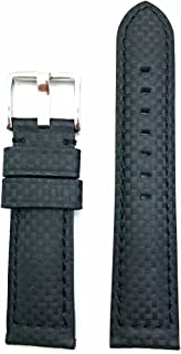 22mm Black Genuine Carbon Fiber Leather Watch Band | High Performance, Thick, Durable, Medium Padded Replacement Wrist Strap That Brings New Life to Any Watch (Mens Standard Length)