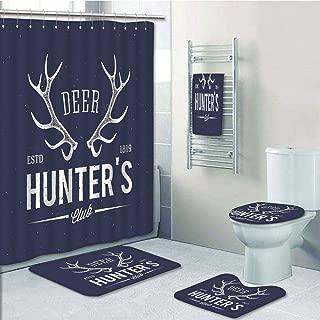 Bathroom 5 Piece Set shower curtain 3d print Multi Style,Hunting Decor,Deer Hunters Club Logo Design with Antlers Retro Typography Shabby Icon,Navy Blue White,Bath Mat,Bathroom Carpet Rug,Non-Slip,Bat