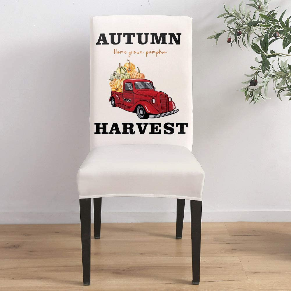 Dining Room Chair Covers Set of Pumpk Thanksgiving Truck 8- 40% OFF Cheap Sale Free shipping with