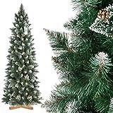 FairyTrees Arbre Sapin Artificiel de Noêl Slim, Pin Naturel Blanc Enneigé, Matière PVC, Pommes de Pin Vraies, Socle en Bois, 180cm, FT09-180
