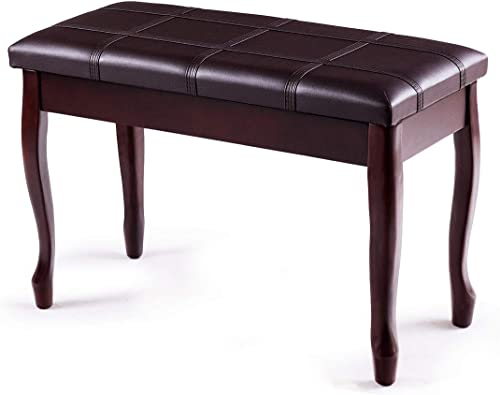 discount Giantex high quality Piano Bench PU Leather W/Padded Cushion and Music Storage, Comfortable Double Duet Seat, Wooden Legs, Perfect online sale for Professional or Home Use Piano Stool (Brown) sale