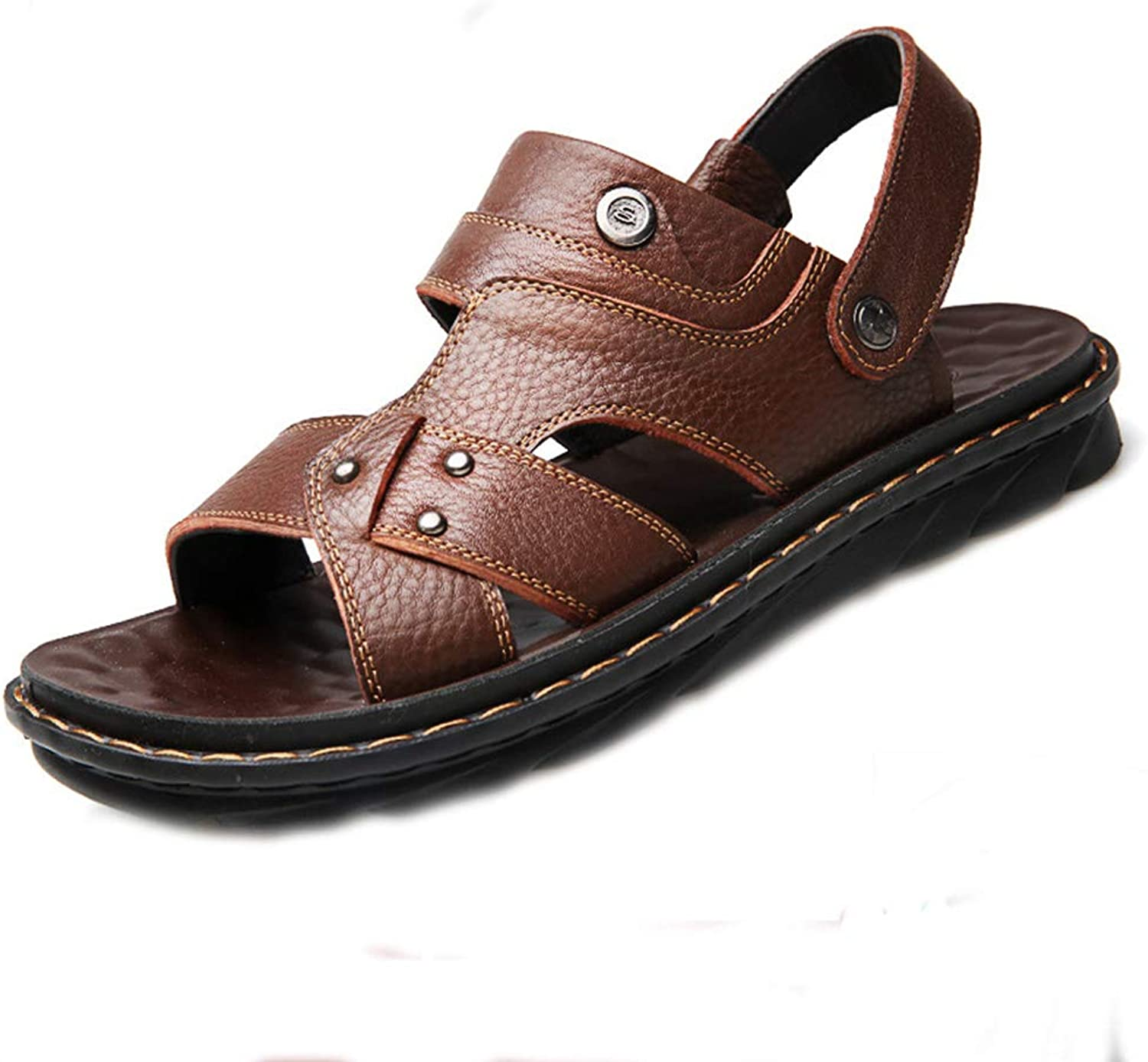 DYFAR 6 12 11 9 8.5 Large size Sandals Sports Outdoor Cork Sandals Comfort Open Toe Men's Leather Fisherman Breathable Summer Casual Adjustable Strap shoes Walking Beach Travel