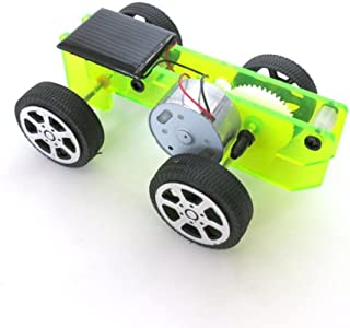 Lookatool Boy's 1 Set Mini Solar Powered Toy Diy Car Kit Children Educational Gadget Hobby Funny, Green