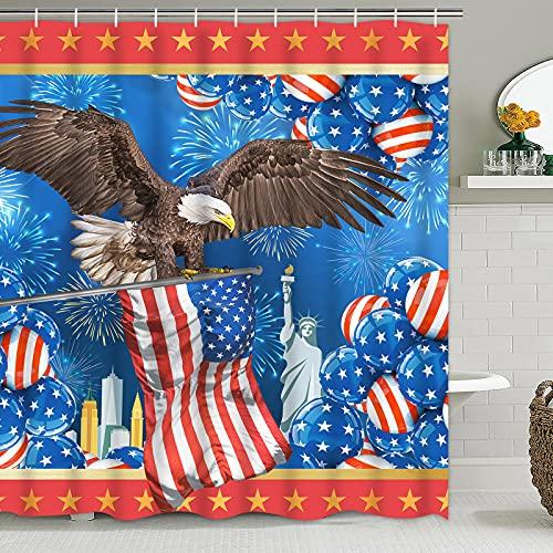 Pknoclan Independence Day American Adler Duschvorhang, Große Vierte Juli Duschvorhänge für Badezimmer, Amerikanische Flagge Badvorhang mit 12 Haken, Wasserdichte Duschvorhänge für Unabhängigkeit Dekor