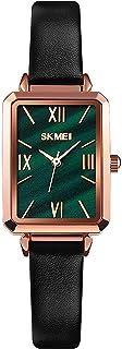 ساعة نسائية، ساعة يد مستطيلة أنيقة من الجلد للبنات، انالوج كوارتز مضادة للماء للنساء (اللون الأخضر)