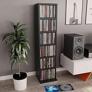 vidaXL Armoire à CD Etagère à CD Meuble à CD Armoire de Rangement Meuble de Stockage Bureau Salon Maison Intérieur Noir 21...