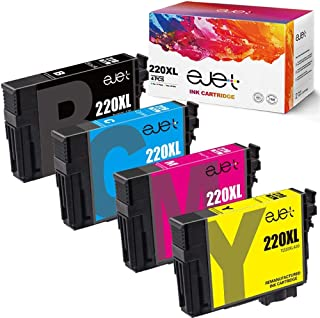 ejet Remanufactured Ink Cartridge Replacement for Epson 220XL 220 XL T220XL to use with Workforce WF-2750 WF-2630 WF-2650 WF-2660 WF-2760 XP-320 XP-420 (1 Black, 1 Cyan, 1 Magenta, 1 Yellow) 4 Pack