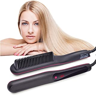 Pro Hair Straightener & Curler 2-in-1,Hair Treatment Styling Tools with LCD Display & Adjustable Temp,Straightening Heat B...