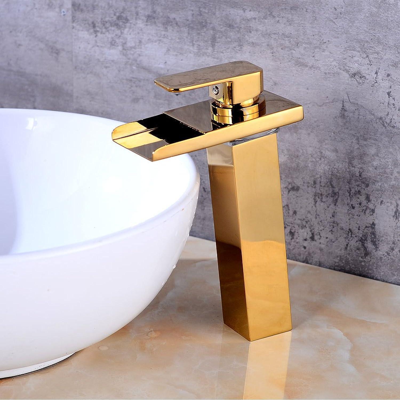 Gold Waschbecken Wasserhahn, Bad LED Wasserfall Wasserhahn, Waschbecken heien und kalten Kupfer Mixeer Bad Küchenarmaturen
