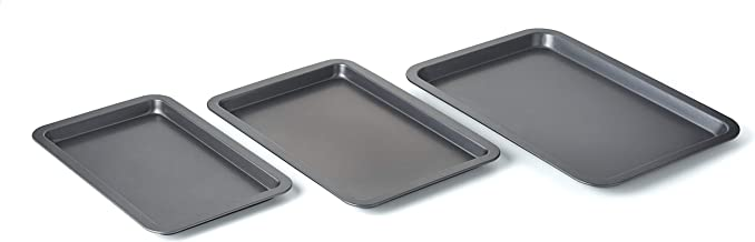 Betty CrockerSet of 3 Non-Stick Cookie and Baking Sheets - Includes Large, Medium, and Small Cookie Sheet. Non-stick Coate...