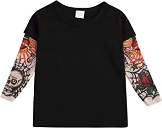 Toddler Unisex Baby Kids Clothes Cotton T-Shirt Sunscreen with Mesh Tattoo Long Sleeve Tops